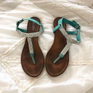 Aldo Aqua Rhinestone Sandals